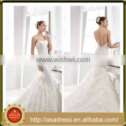 A50 Glamorously Sexy Full-Length Bridal Party Wedding Dress with Double Spaghetti Strap Backless Wedding Gowns for Weddings
