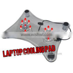 stock lot laptop cooling pad selling 2.2mm transparent LAPTOP COOLER COOLING PAD 2 FAN with light for notebook cooling pad