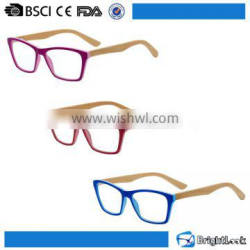 Customized color plastic frame wood bamboo temple wholesale glasses