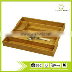 Store More Beautiful and Durable Bamboo Expandable Utility Drawer Cutlery Organizer