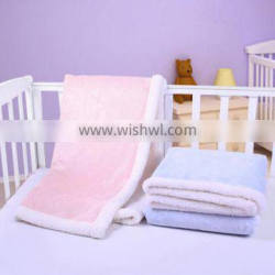 super soft coral fleece/sherpa 2 layers for kids crib baby sherpa throw