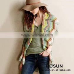 Womens sweater fall sleeveless open chest sweater shawl collar knit vertical striped