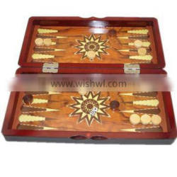 antique wooden chess backgammon checkers board set 3in 1