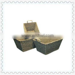 woven rectangular shape natural seagrass basket with handles
