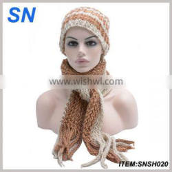 Fashion new chunky stripes female hat and scarf set