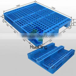 Heavy duty floor stacking plastic pallet with 3 runners bottom and grid decks 1200x1000 Supplier's Choice