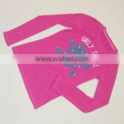 R&H Fashion pink girly skull designs with Long Sleeve funny t-shirt for Girls