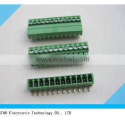 Green right angle 3.5mm 3.81mm 4 pin 12 pin pcb mount screw pluggable type terminal block