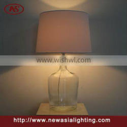 Square clear Glass table lamp fabric shade lamp for home decorate