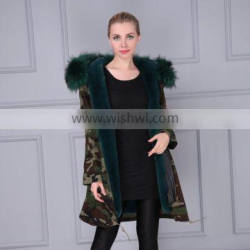 Girl Short Camouflage Fur Hooded Outwear Fauxe Fur Lining Padded Parka Coat Charming Style