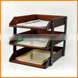 Leather file frame data frame three file tray A4 paper Desktop Storage Rack creative business office supplies