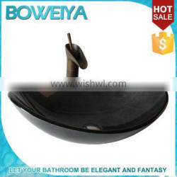Oval Shaped Glass Chinese Dining Room Counter Top Black Wash Basin Sizes