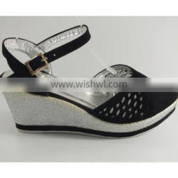 Ladies leather wedge shoe denim wedge shoes with color factory price