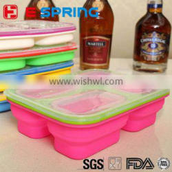 3 Compartment Portable Silicone Collapsible Microwave Lunch Box Food Storage Box
