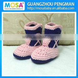 Handmade Cotton Cowgirl Boots Pink Navy Blue Baby Winter Boots