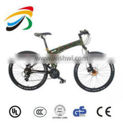 Hot sale 26inch carbon steel frame suspension folding mountain bikes army green