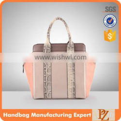 3876 PU Material Middle Aged Handbags Wholesale with Dual Snake Leather Handles