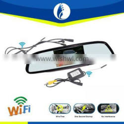 digital wireless wifi 4.3inch wire free one second startup car rearview mirror tachograph