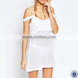 2016 sexy women and girl lace trim cold shoulder beach cover up dress
