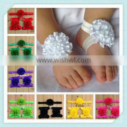 new style baby headwrap baby ribbon flower decoration for head & foot