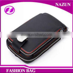 2016 classical latest genuine leather fashion mobile phone sling chest pack bag for men