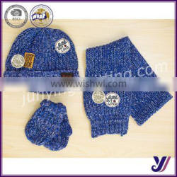 High quality children knitted wool felt beanie hat scarf glove set factory sales (can be customized)