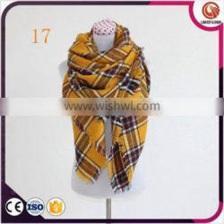 New arrival trendy arge oversize winter check tartan plaid scarf lady plaid blanket scarf