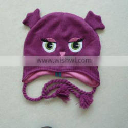 100% acrylic children embroidery knitted hat