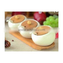 ceramic canister set with bamboo lids, bamboo spice set with ceramic jar, spice rack set