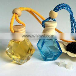 Factory direct sale polymer clay hanging car perfume bottle with wooden cap