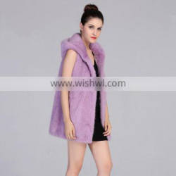 Top quality 100% real mink fur long vest with hood