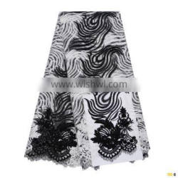 Hot sale African French Net Lace Applique Embroidery lace Fabric with bead W170823004
