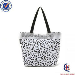 fashion polyester tote bag with black and white leopard buckle
