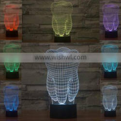 3D Optical Night Light Tooth 7 RGB Light Colors 10 LEDs AA Battery or DC 5V Mixed Lot
