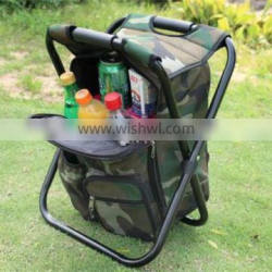 Portable Folding High-Intensity Steel Weight Supported Backpack Stool Chairs With Insulated Cooler bag