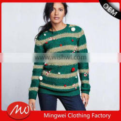 hot-sale ladies novelty knitted christmas jumpers sweater with low price