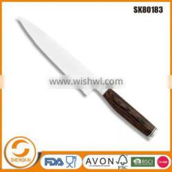 New product stainless steel serrated kitchen chef knife with wooden handle
