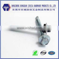 dongguan manufacture znic plated hex flange head self drilling screw