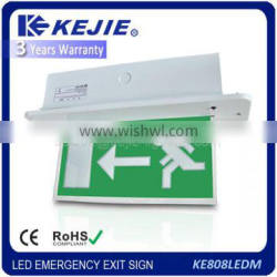 2016 Kejie led recessed emergency exit sign light with European standards