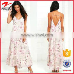 2016 floral printed maxi dress womens printed long maxi dress with long open V back