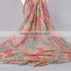 custom new style fringe india voile scarf small flower infinity print voile scarf
