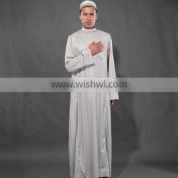 silver cape islam thob long sleeve moslem men's clothes middle east Religious clothing men