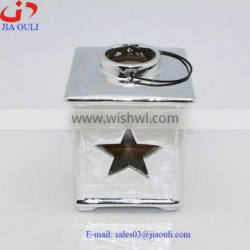 BSCI Audit Factory home decoration plating silver ceramic small hurricane lamp, candle lantern
