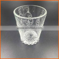 Hot sales wholesale carved glass candle cup