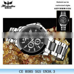 Top quality skeleton stainless steel mens mechanical watch