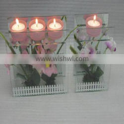 pink frosted glass cup plexiglass candle holder for birthday gift