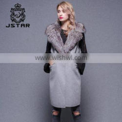 Lady fashion Grey Color Cashmere vest with lamb collar