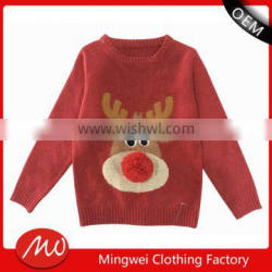 Kids hand knit pattern christmas novelty cashmere jumpers sweaters with best quality