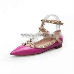 China Name Branded Ladies No Heel Shoes Wholesale Cheap Price Women Casual Shoes Sexy Rivets Women Flattie Shoes
