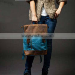 15inch Blue Canvas backpacks Student laptop canvas bag Leisure Leather and Canvas Backpack School Canvas Bags